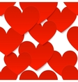 Red paper hearts at white background vector image