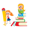 girl reading on book pile writing with pencil vector image