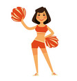 cheerleader in orange uniform with pompons vector image