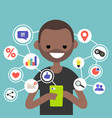 millennial consuming online content on mobile vector image