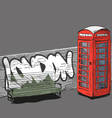 Drawing red english phone booth vector image vector image