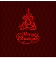 Fir tree christmas red ornament vector image