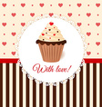 Vintage invitation card with hearts and cream cake vector image