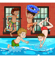 Boys diving and swimming in the pool vector image