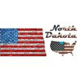 USA state of North Dakota on a brick wall vector image