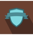 Blue shield with ribbon icon flat style vector image