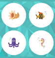 flat icon sea set of seafood hippocampus vector image