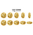 gbp 3d gold coins set realistic vector image