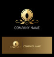 golden luxury food spoon logo vector image
