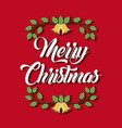Merry christmas card greeting decoration branch vector image