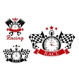 Racing icons templates with sport items vector image