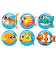 Different kinds of fish on round badge vector image vector image