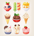 set of colorful ice creams vector image