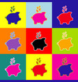 piggy bank sign with the currencies  pop vector image