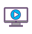 computer desktop with play button vector image