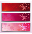 Three Valentine Banners Red Pink vector image