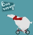 Travel large polar bear on a bicycle vector image