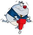 Gray Bulldog Vibrating With A Jackhammer vector image vector image