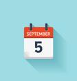 September 5 flat daily calendar icon vector image