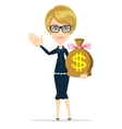 Businesswoman with money bag vector image