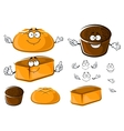 Cartoon wheat and rye brown breads characters vector image