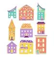 Houses Set Doodle Color Light vector image