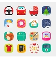 Mobile app icons set flat style web user vector image