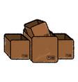 pile boxes carton delivery service vector image
