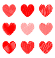 Set of design doodle drawn heart icons vector image