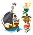 set of labels for design items with a pirate vector image