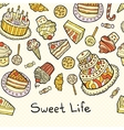Sweet life card with cakes isolated on dotted vector image