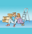 young family moving to a new house vector image