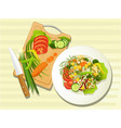vegetarian food kitchen vector image vector image