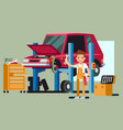 smiling professional car repair man fixing vector image