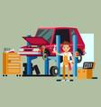 smiling professional car repair man fixing vector image vector image