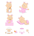 baby girl with toys vector image
