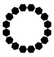 circular pattern of black hexagons on a white vector image