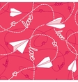 Hearts Paper Airplanes Love Seamless Pattern vector image