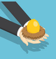isometric businessman holding nest with golden egg vector image