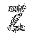 Letter Z made from houses alphabet design vector image