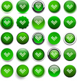 Round green download icons vector image