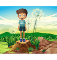 A boy standing above a stump vector image