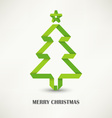Folded paper Christmas green tree vector image