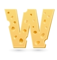 W cheese letter Symbol isolated on white vector image