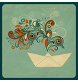 eco concept with a ship and floral pattern vector image vector image
