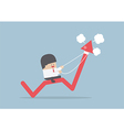 Businessman riding on angry stock market graph vector image