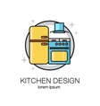 Kitchen design line logo vector image