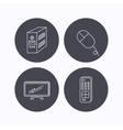 PC mouse TV remote and computer icons vector image