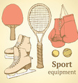 Sketch sport equipment in vintage style vector image