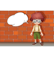 boy against wall vector image vector image